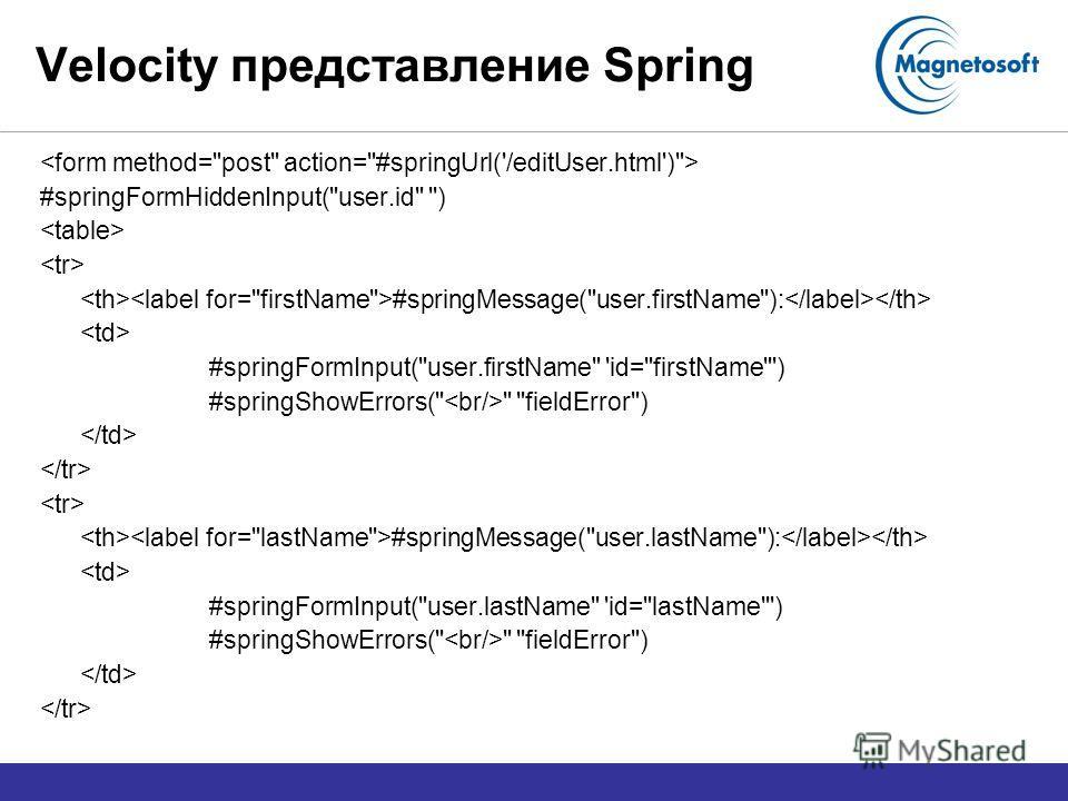 Velocity представление Spring #springFormHiddenInput(