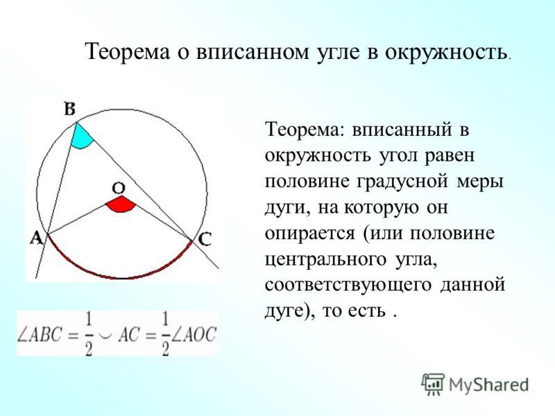 Теорема о вписанном угле в окружность. Теорема: вписанный в окружность угол равен половине градусной меры дуги, на которую он опирается (или половине центрального угла, соответствующего данной дуге), то есть.