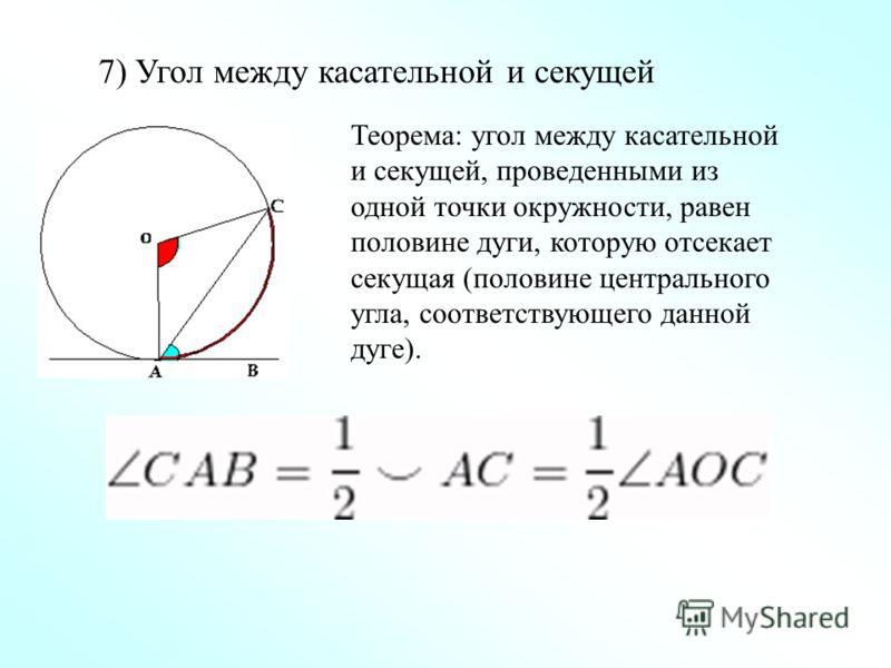 7) Угол между касательной и секущей Теорема: угол между касательной и секущей, проведенными из одной точки окружности, равен половине дуги, которую отсекает секущая (половине центрального угла, соответствующего данной дуге).