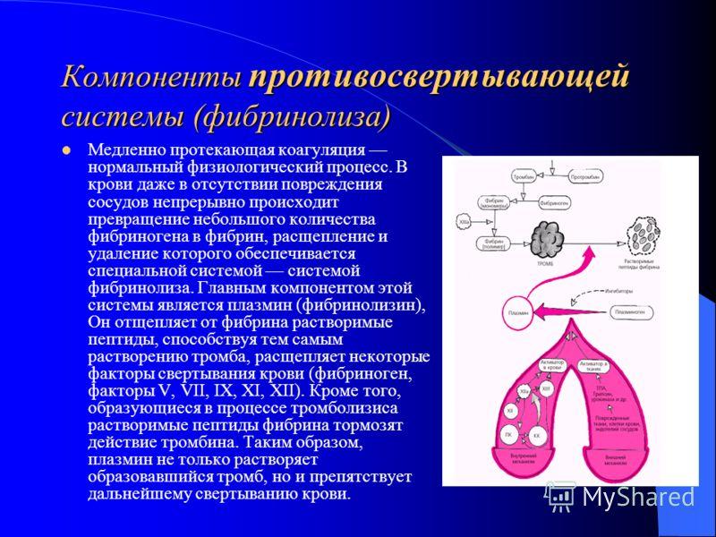 Компоненты противосвертывающей системы (фибринолиза) Медленно протекающая коагуляция нормальный физиологический процесс. В крови даже в отсутствии повреждения сосудов непрерывно происходит превращение небольшого количества фибриногена в фибрин, расще