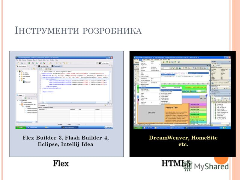 І НСТРУМЕНТИ РОЗРОБНИКА Flex HTML5 Flex Builder 3, Flash Builder 4, Eclipse, Intellij Idea DreamWeaver, HomeSite etc.