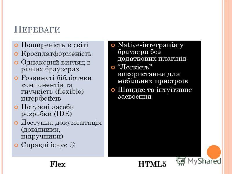 П ЕРЕВАГИ Поширеність в світі Кросплатформеність Однаковий вигляд в різних браузерах Розвинуті бібліотеки компонентів та гнучкість (flexible) інтерфейсів Потужні засоби розробки (IDE) Доступна документація (довідники, підручники) Справді існує Native