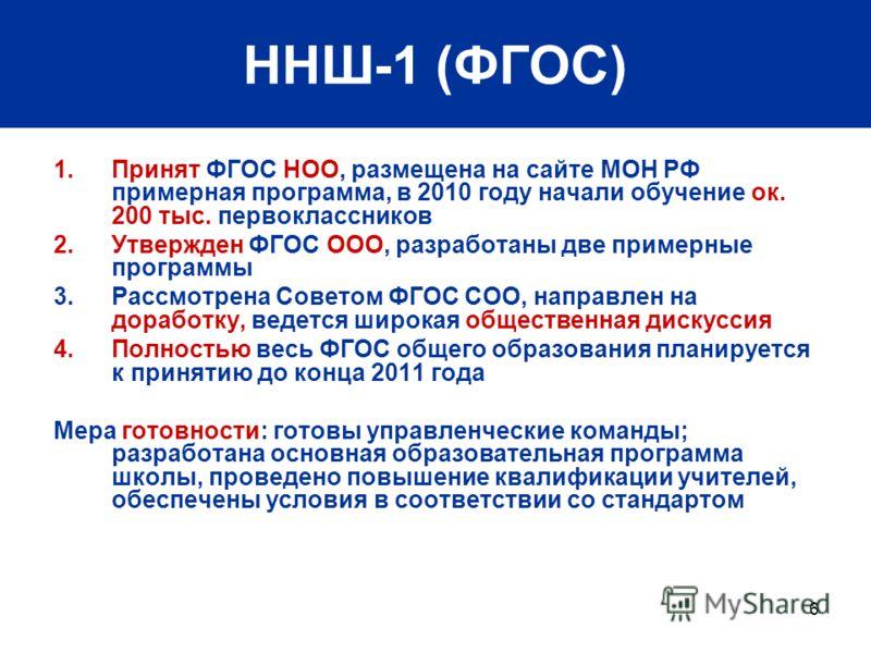 6 ННШ-1 (ФГОС) 1.Принят ФГОС НОО, размещена на сайте МОН РФ примерная программа, в 2010 году начали обучение ок. 200 тыс. первоклассников 2.Утвержден ФГОС ООО, разработаны две примерные программы 3.Рассмотрена Советом ФГОС СОО, направлен на доработку