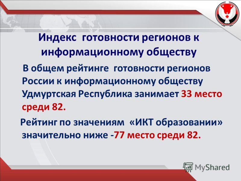 Индекс готовности регионов к информационному обществу В общем рейтинге готовности регионов России к информационному обществу Удмуртская Республика занимает 33 место среди 82. Рейтинг по значениям «ИКТ образовании» значительно ниже -77 место среди 82.