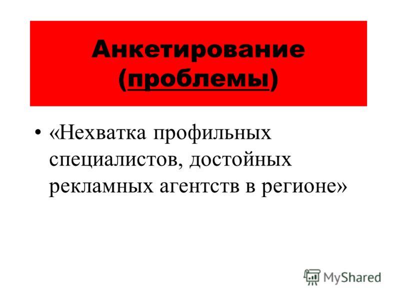 Анкетирование (проблемы) «Нехватка профильных специалистов, достойных рекламных агентств в регионе»