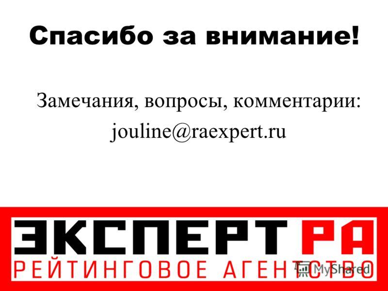 Спасибо за внимание! Замечания, вопросы, комментарии: jouline@raexpert.ru
