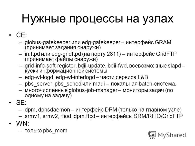 Нужные процессы на узлах CE: –globus-gatekeeper или edg-gatekeeper – интерфейс GRAM (принимает задания снаружи) –in.ftpd или edg-gridftpd (на порту 2811) – интерфейс GridFTP (принимает файлы снаружи) –grid-info-soft-register, bdii-update, bdii-fwd, в