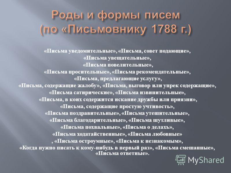 Однако самый известный из письмовников для частных лиц, выдержавший за три четверти века 11 переизданий – это знаменитый сборник Н. Г. Курганова (1725–1796) – Российская универсальная грамматика или всеобщее письмословие, предлагающее легчайший спосо
