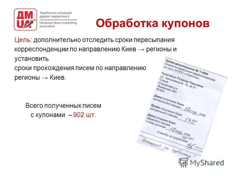 Обработка купонов Цель: дополнительно отследить сроки пересыпания корреспонденции по направлению Киев регионы и установить сроки прохождения писем по направлению регионы Киев. Всего полученных писем с купонами – 902 шт.