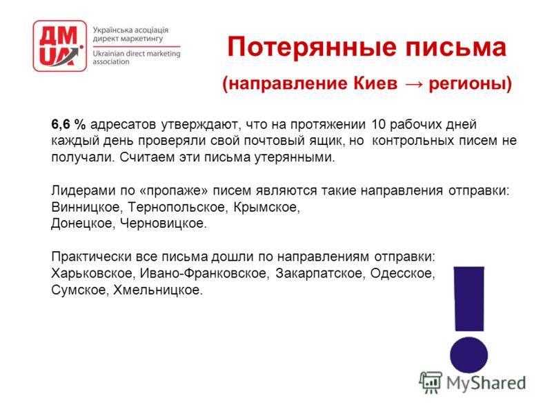 Потерянные письма (направление Киев регионы) 6,6 % адресатов утверждают, что на протяжении 10 рабочих дней каждый день проверяли свой почтовый ящик, но контрольных писем не получали. Считаем эти письма утерянными. Лидерами по «пропаже» писем являются