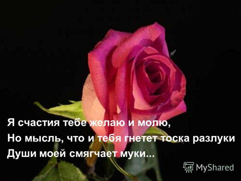 Я счастия тебе желаю и молю, Но мысль, что и тебя гнетет тоска разлуки Души моей смягчает муки...