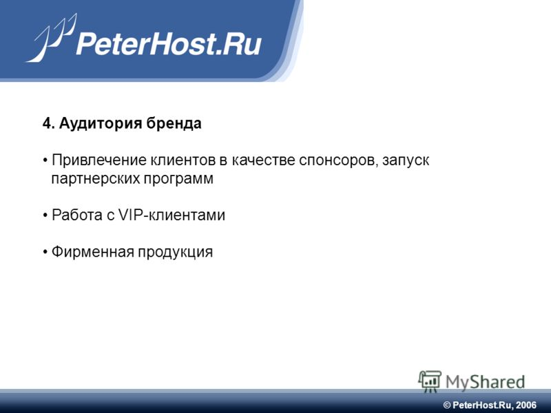 © PeterHost.Ru, 2006 4. Аудитория бренда Привлечение клиентов в качестве спонсоров, запуск партнерских программ Работа с VIP-клиентами Фирменная продукция