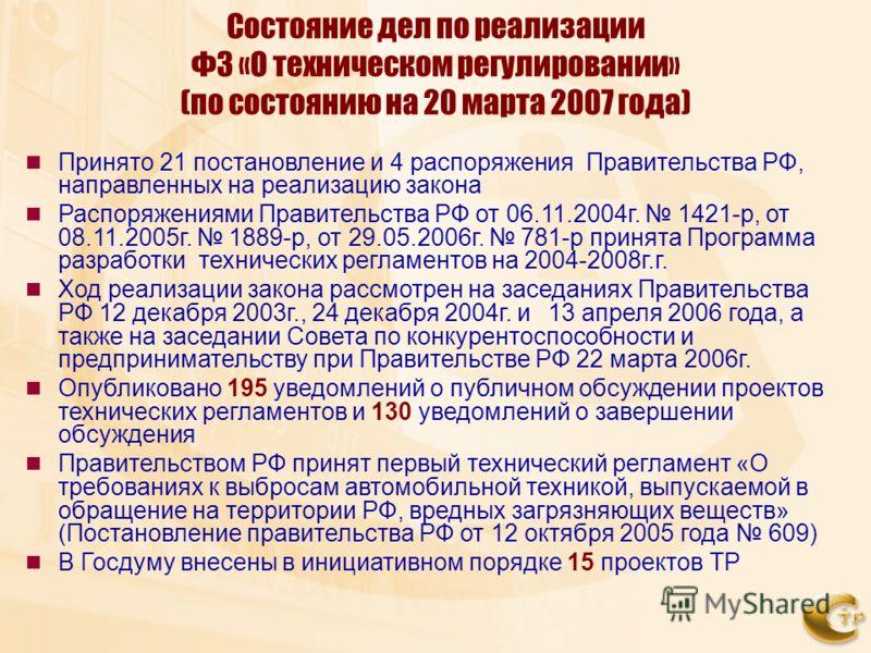 Состояние дел по реализации ФЗ «О техническом регулировании» (по состоянию на 20 марта 2007 года) Принято 21 постановление и 4 распоряжения Правительства РФ, направленных на реализацию закона Распоряжениями Правительства РФ от 06.11.2004г. 1421-р, от