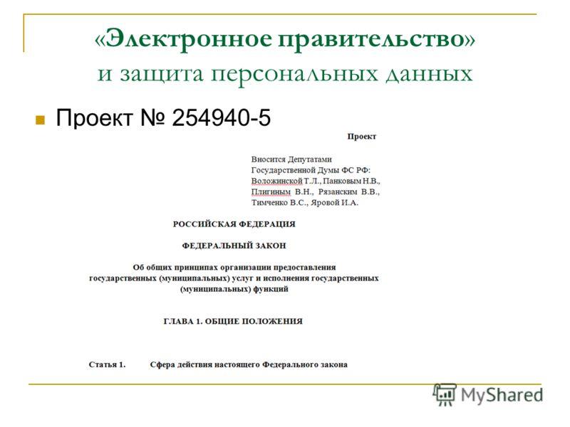 «Электронное правительство» и защита персональных данных Проект 254940-5