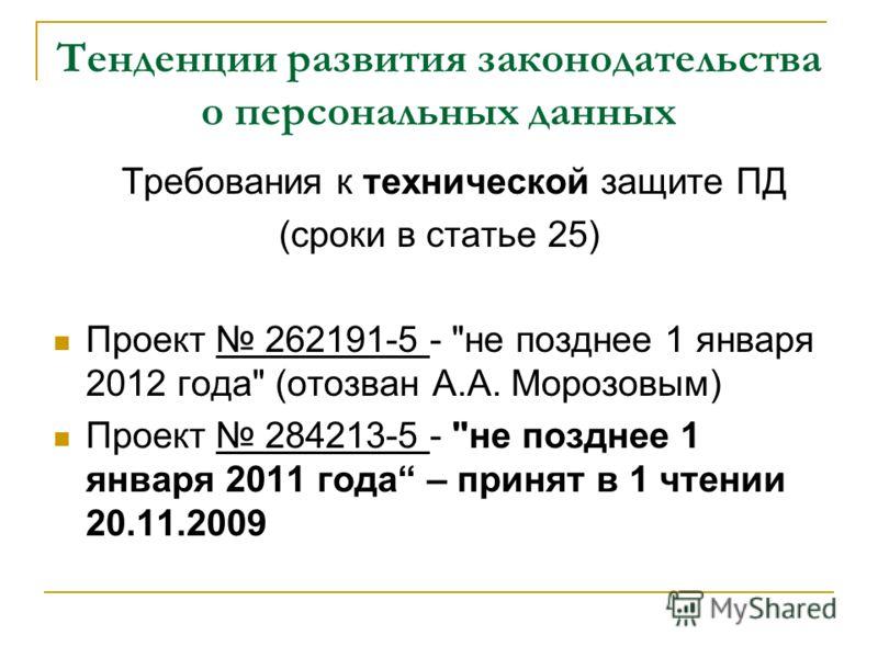 Тенденции развития законодательства о персональных данных Требования к технической защите ПД (сроки в статье 25) Проект 262191-5 -