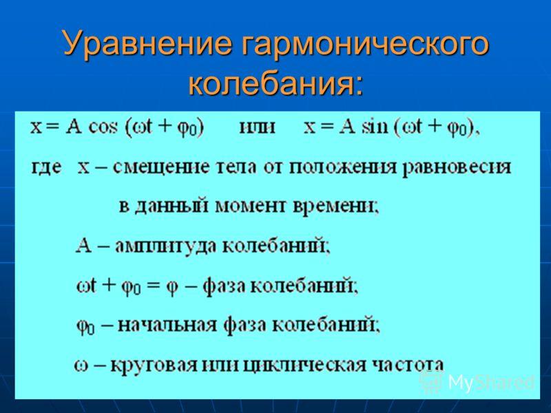 Уравнение гармонического колебания: