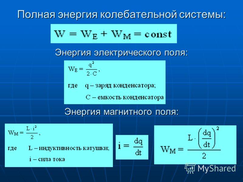 Полная энергия колебательной системы: Энергия электрического поля: Энергия магнитного поля: