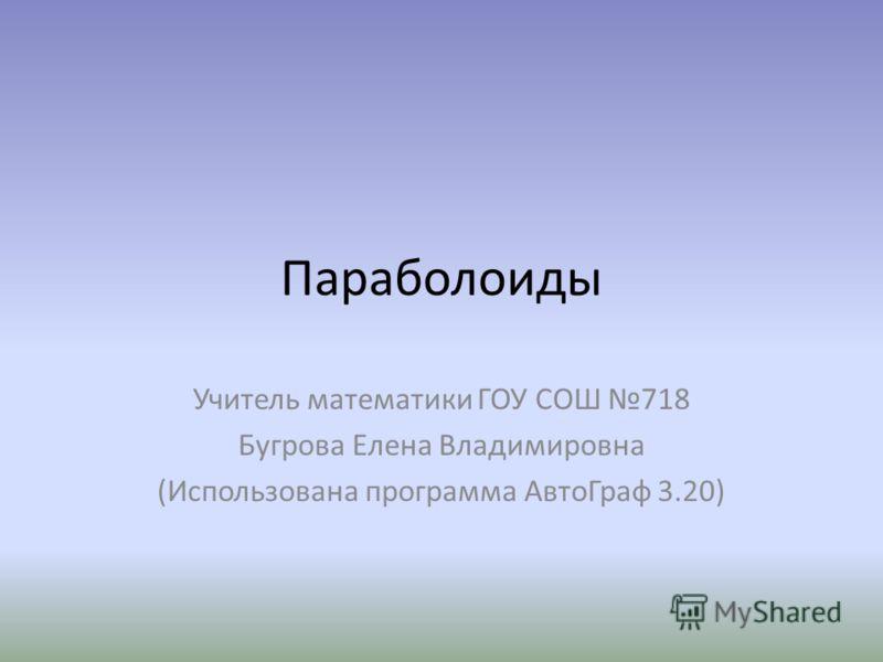 Параболоиды Учитель математики ГОУ СОШ 718 Бугрова Елена Владимировна (Использована программа АвтоГраф 3.20)