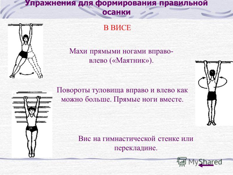 Упражнения для формирования правильной осанки В ВИСЕ Махи прямыми ногами вправо- влево («Маятник»). Повороты туловища вправо и влево как можно больше. Прямые ноги вместе. Вис на гимнастической стенке или перекладине.
