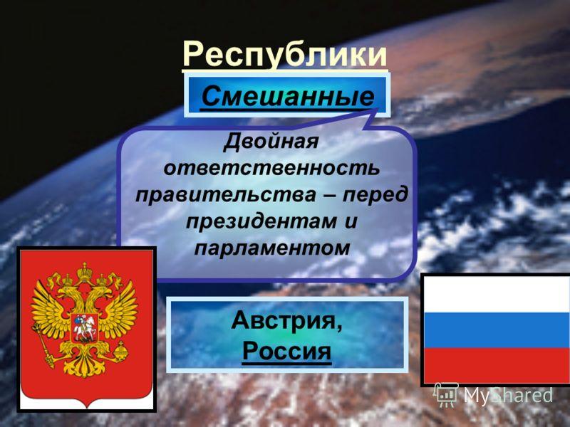 Республики Смешанные Двойная ответственность правительства – перед президентам и парламентом Австрия, Россия