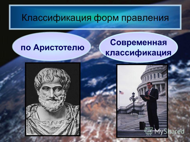 Классификация форм правления по Аристотелю Современная классификация