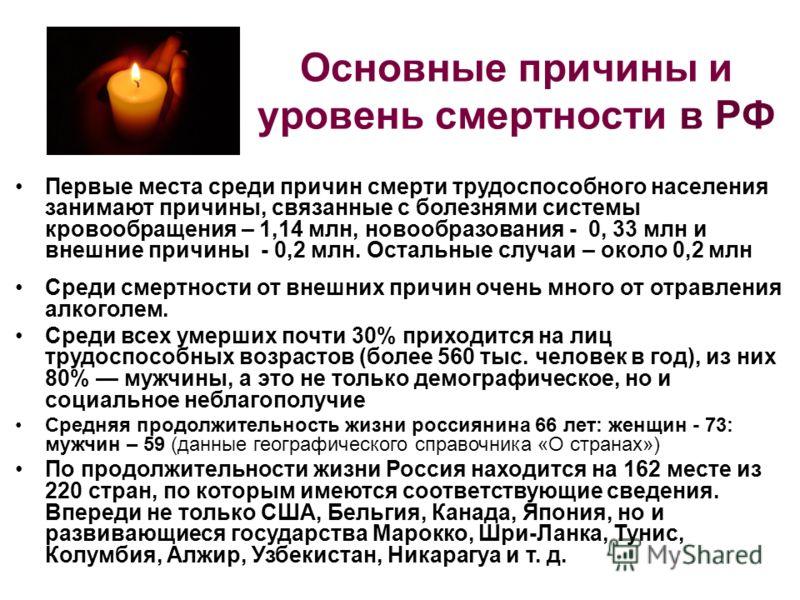 Основные причины и уровень смертности в РФ Первые места среди причин смерти трудоспособного населения занимают причины, связанные с болезнями системы кровообращения – 1,14 млн, новообразования - 0, 33 млн и внешние причины - 0,2 млн. Остальные случаи