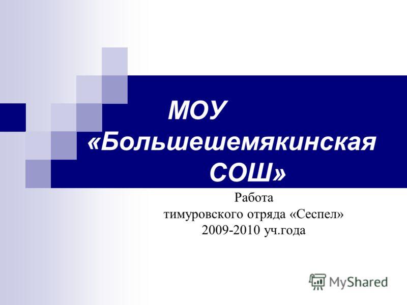 МОУ «Большешемякинская СОШ» Работа тимуровского отряда «Сеспел» 2009-2010 уч.года