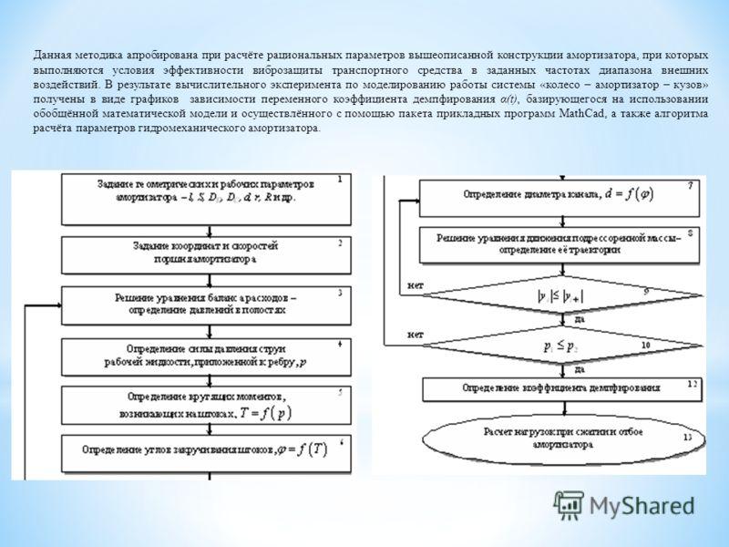 Данная методика апробирована при расчёте рациональных параметров вышеописанной конструкции амортизатора, при которых выполняются условия эффективности виброзащиты транспортного средства в заданных частотах диапазона внешних воздействий. В результате