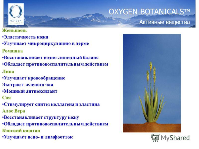 Женьшень Эластичность кожиЭластичность кожи Улучшает микроциркуляцию в дермеУлучшает микроциркуляцию в дермеРомашка Восстанавливает водно-липидный балансВосстанавливает водно-липидный баланс Обладает противовоспалительным действиемОбладает противовос