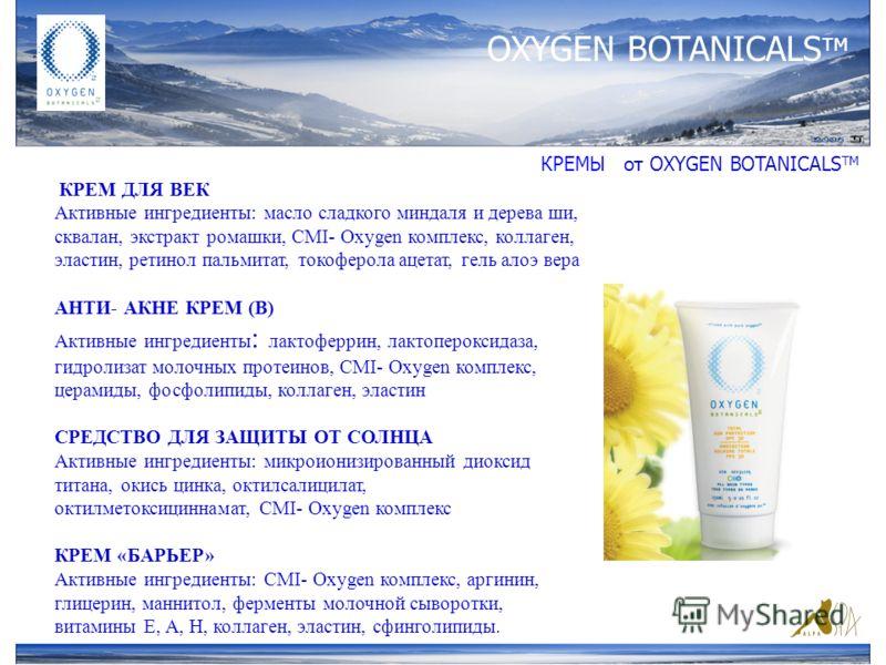 OXYGEN BOTANICALS тм КРЕМЫ от ОXYGEN BOTANICALS TM КРЕМ ДЛЯ ВЕК Активные ингредиенты: масло сладкого миндаля и дерева ши, сквалан, экстракт ромашки, CMI- Oxygen комплекс, коллаген, эластин, ретинол пальмитат, токоферола ацетат, гель алоэ вера АНТИ- А