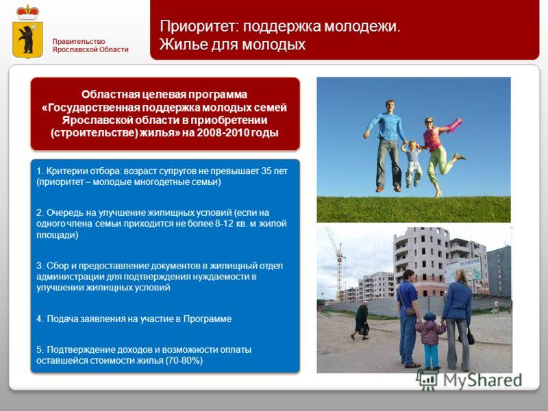 Правительство Ярославской Области Приоритет : поддержка молодежи. Жилье для молодых 1. Критерии отбора : возраст супругов не превышает 35 лет ( приоритет – молодые многодетные семьи ) 2. Очередь на улучшение жилищных условий ( если на одного члена се