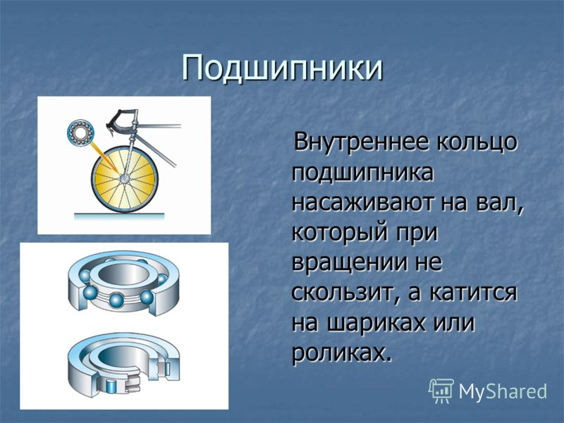 Подшипники Внутреннее кольцо подшипника насаживают на вал, который при вращении не скользит, а катится на шариках или роликах. Внутреннее кольцо подшипника насаживают на вал, который при вращении не скользит, а катится на шариках или роликах.
