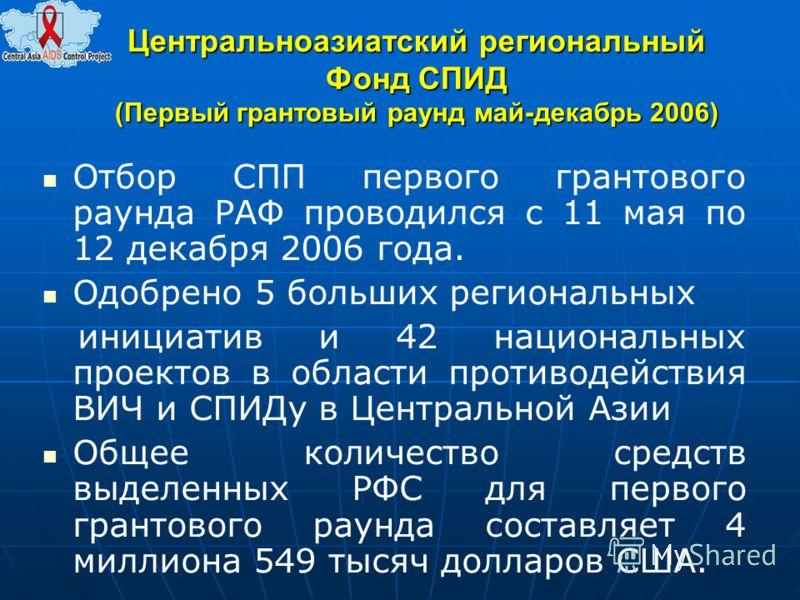 Центральноазиатский региональный Фонд СПИД (Первый грантовый раунд май-декабрь 2006) Отбор СПП первого грантового раунда РАФ проводился с 11 мая по 12 декабря 2006 года. Одобрено 5 больших региональных инициатив и 42 национальных проектов в области п