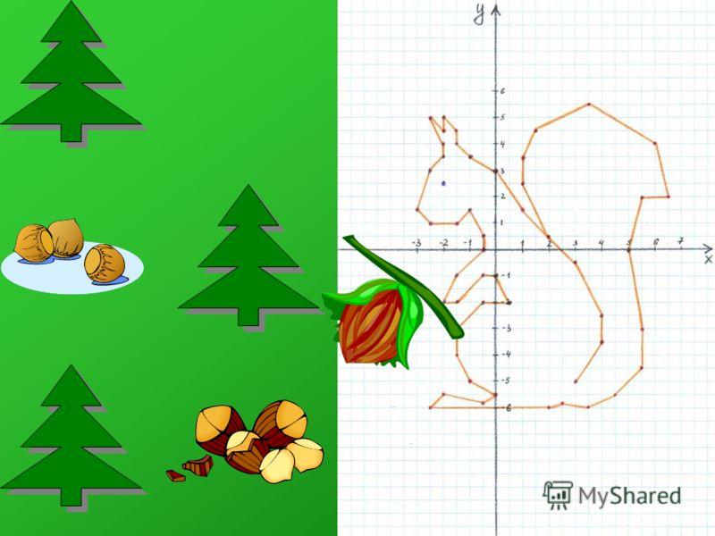 Рисуем белку (единичный отрезок 2 клетки) Координаты: (3;-5) (4;-3,5) (4;-2,5) (3;-0,5) (2;0,5) (1;1,5) (0;3) (-1;3,5) (-1,5;4) (-1,5;4,5) (-2;5) (-2;4,5) (-2,5;5) (-2;4) (-2;3,5) (-2,5;3) (-3;1,5) (-2,5;1) (-1,5;1) (-1;1,5) (-0,5;0,5) (-0,5;0) (-1,5