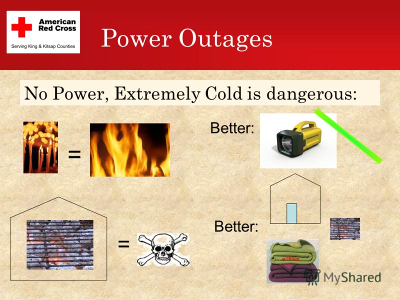 Power Outages = Better: = No Power, Extremely Cold is dangerous:
