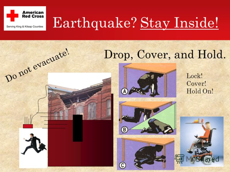 Earthquake? Stay Inside! Do not evacuate! Drop, Cover, and Hold. Lock! Cover! Hold On!