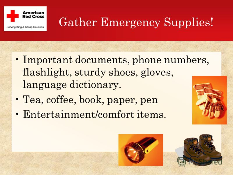 Gather Emergency Supplies! Important documents, phone numbers, flashlight, sturdy shoes, gloves, language dictionary. Tea, coffee, book, paper, pen Entertainment/comfort items.