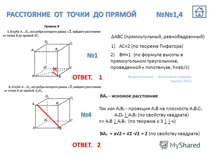 РАССТОЯНИЕ ОТ ТОЧКИ ДО ПРЯМОЙ 1,4 АВС (прямоугольный, равнобедренный) 1) АС=2 (по теореме Пифагора) 2) ВН=1 (по формуле высоты в прямоугольном треугольнике, проведенной к гипотенузе, h=ab/c) 1 Н Из выступления Игнатченко Снежаны (выпуск 2011) 4 BA -