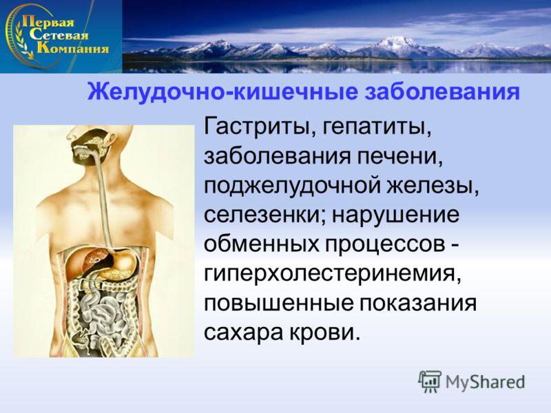 Желудочно-кишечные заболевания Гастриты, гепатиты, заболевания печени, поджелудочной железы, селезенки; нарушение обменных процессов - гиперхолестеринемия, повышенные показания сахара крови.