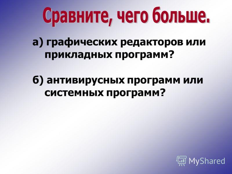 а) графических редакторов или прикладных программ? б) антивирусных программ или системных программ?