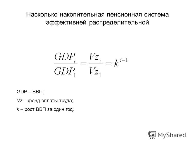 Насколько накопительная пенсионная система эффективней распределительной GDP – ВВП; Vz – фонд оплаты труда; k – рост ВВП за один год.