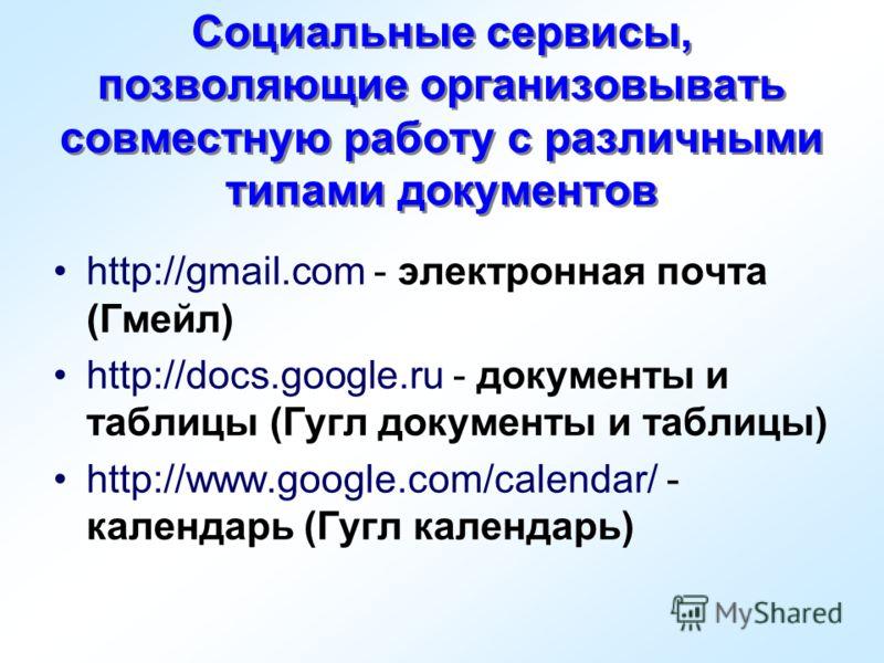 Социальные сервисы, позволяющие организовывать совместную работу с различными типами документов http://gmail.com - электронная почта (Гмейл) http://docs.google.ru - документы и таблицы (Гугл документы и таблицы) http://www.google.com/calendar/ - кале