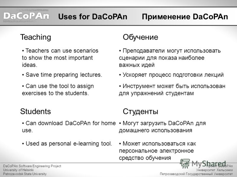 Uses for DaCoPAn Teachers can use scenarios to show the most important ideas. Teaching Save time preparing lectures. DaCoPAn Software Engineering Project University of Helsinki Petrozavodsk State University Проект DaCoPAn Университет Хельсинки Петроз