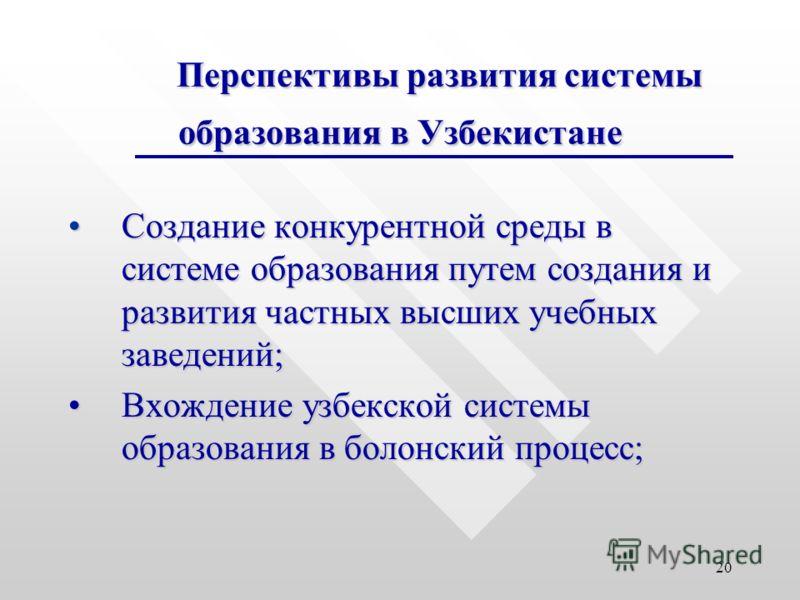 20 Перспективы развития системы образования в Узбекистане Создание конкурентной среды в системе образования путем создания и развития частных высших учебных заведений;Создание конкурентной среды в системе образования путем создания и развития частных
