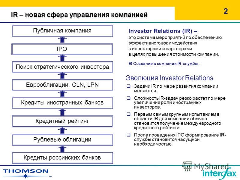 Эволюция Investor Relations Задачи IR по мере развития компании меняются. Сложность IR-задач резко растет по мере увеличение роли иностранных инвесторов. Первым самым крупным испытанием в области IR для компании обычно становится получение международ