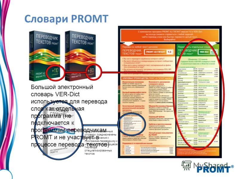 Словари PROMT Специализированные словари предназначены для подключения к программе-переводчику и используемые в процессе перевода специализированных текстов Большой электронный словарь VER-Dict используется для перевода слов как отдельная программа (