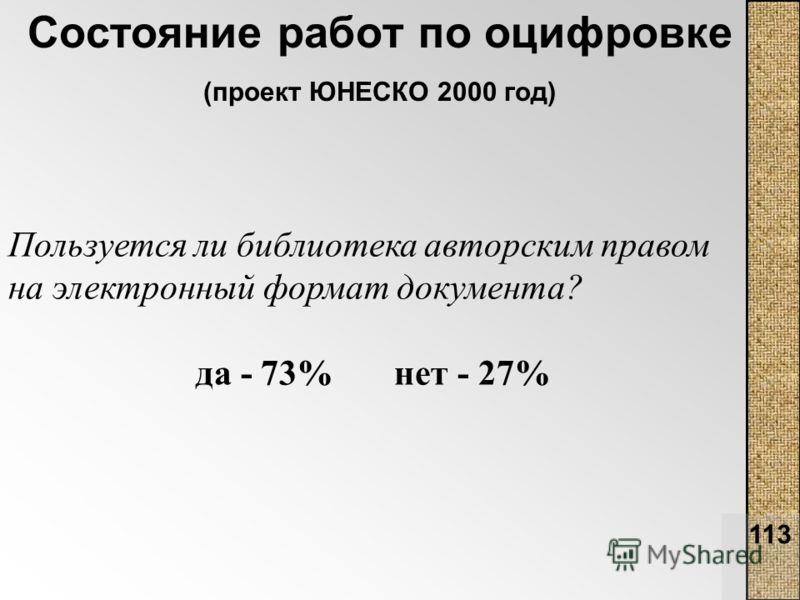 113 Состояние работ по оцифровке (проект ЮНЕСКО 2000 год) Пользуется ли библиотека авторским правом на электронный формат документа? да - 73% нет - 27%