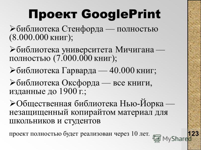 123 Проект GooglePrint библиотека Стенфорда полностью (8.000.000 книг); библиотека университета Мичигана полностью (7.000.000 книг); библиотека Гарварда 40.000 книг; библиотека Оксфорда все книги, изданные до 1900 г.; Общественная библиотека Нью-Йорк