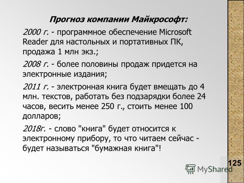 125 Прогноз компании Майкрософт: 2000 г. - программное обеспечение Microsoft Reader для настольных и портативных ПК, продажа 1 млн экз.; 2008 г. - более половины продаж придется на электронные издания; 2011 г. - электронная книга будет вмещать до 4 м