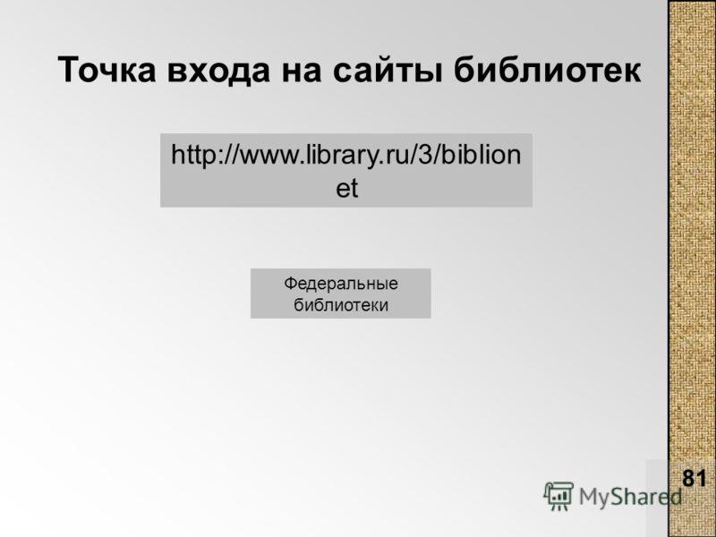 81 Точка входа на сайты библиотек http://www.library.ru/3/biblion et Федеральные библиотеки